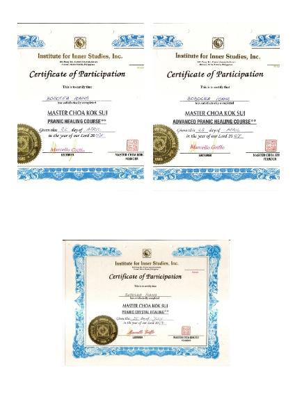 Diplome :<br />    PRANIC HEALIG COURSE<br />    ADVANCED PRANIC HEALING COURSE<br />    PRANIC  CRYSTAL COURSE   Cabinet individual